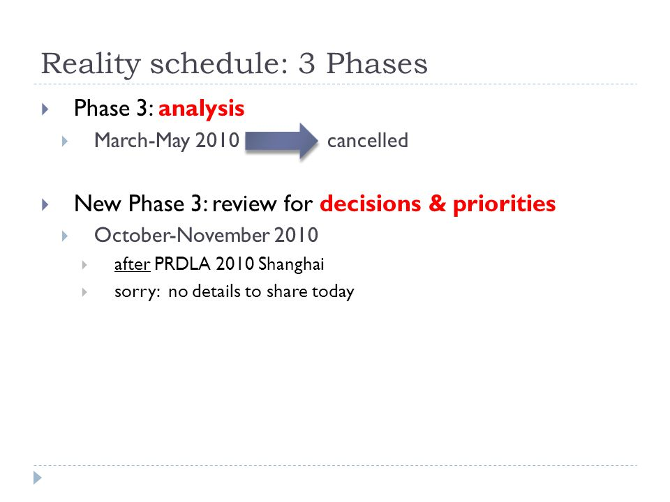 Reality schedule: 3 Phases  Phase 3: analysis  March-May 2010 cancelled  New Phase 3: review for decisions & priorities  October-November 2010  a