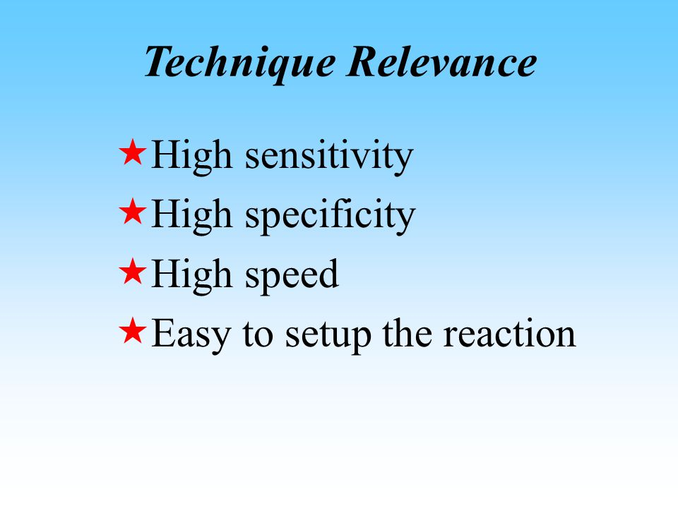 Technique Relevance  High sensitivity  High specificity  High speed  Easy to setup the reaction