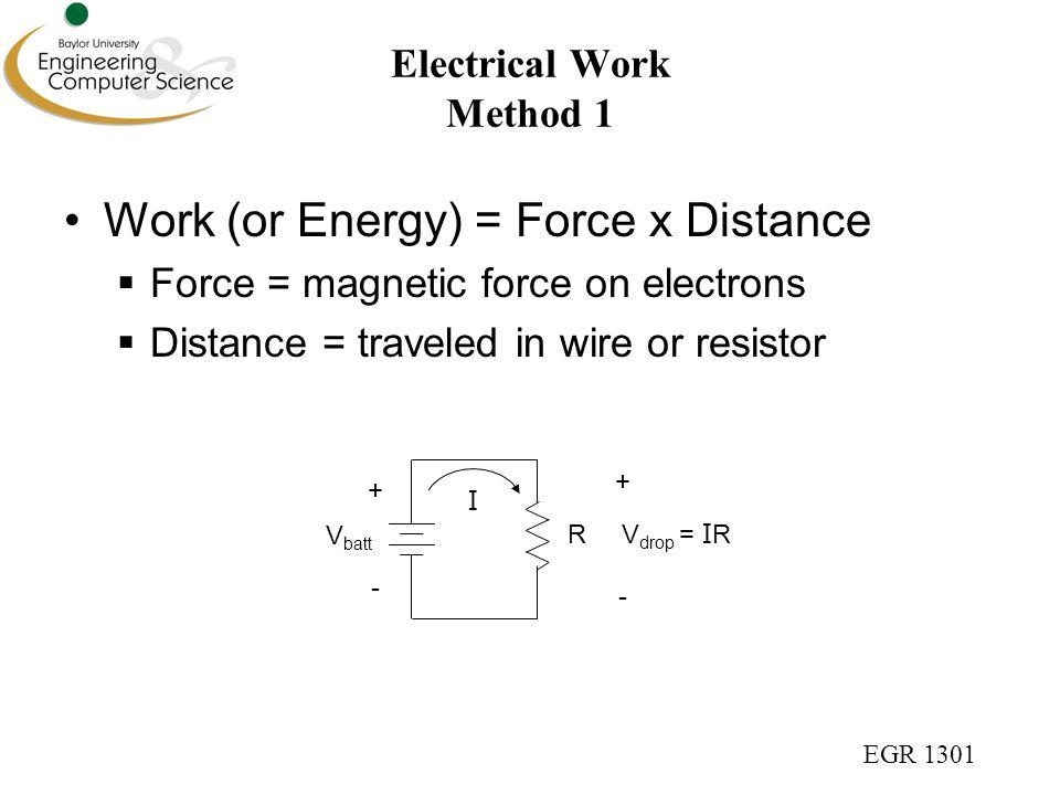 EGR 1301 Electrical Work Method 1 Work (or Energy) = Force x Distance  Force = magnetic force on electrons  Distance = traveled in wire or resistor V batt R I V drop = I R + - + -