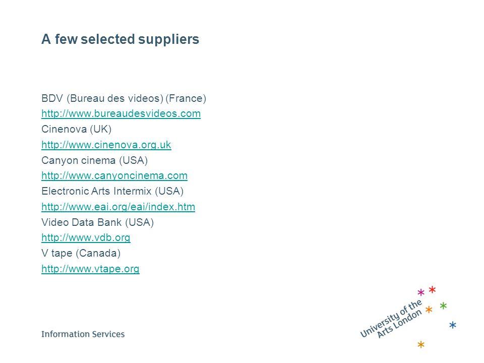 A few selected suppliers BDV (Bureau des videos) (France) http://www.bureaudesvideos.com Cinenova (UK) http://www.cinenova.org.uk Canyon cinema (USA)