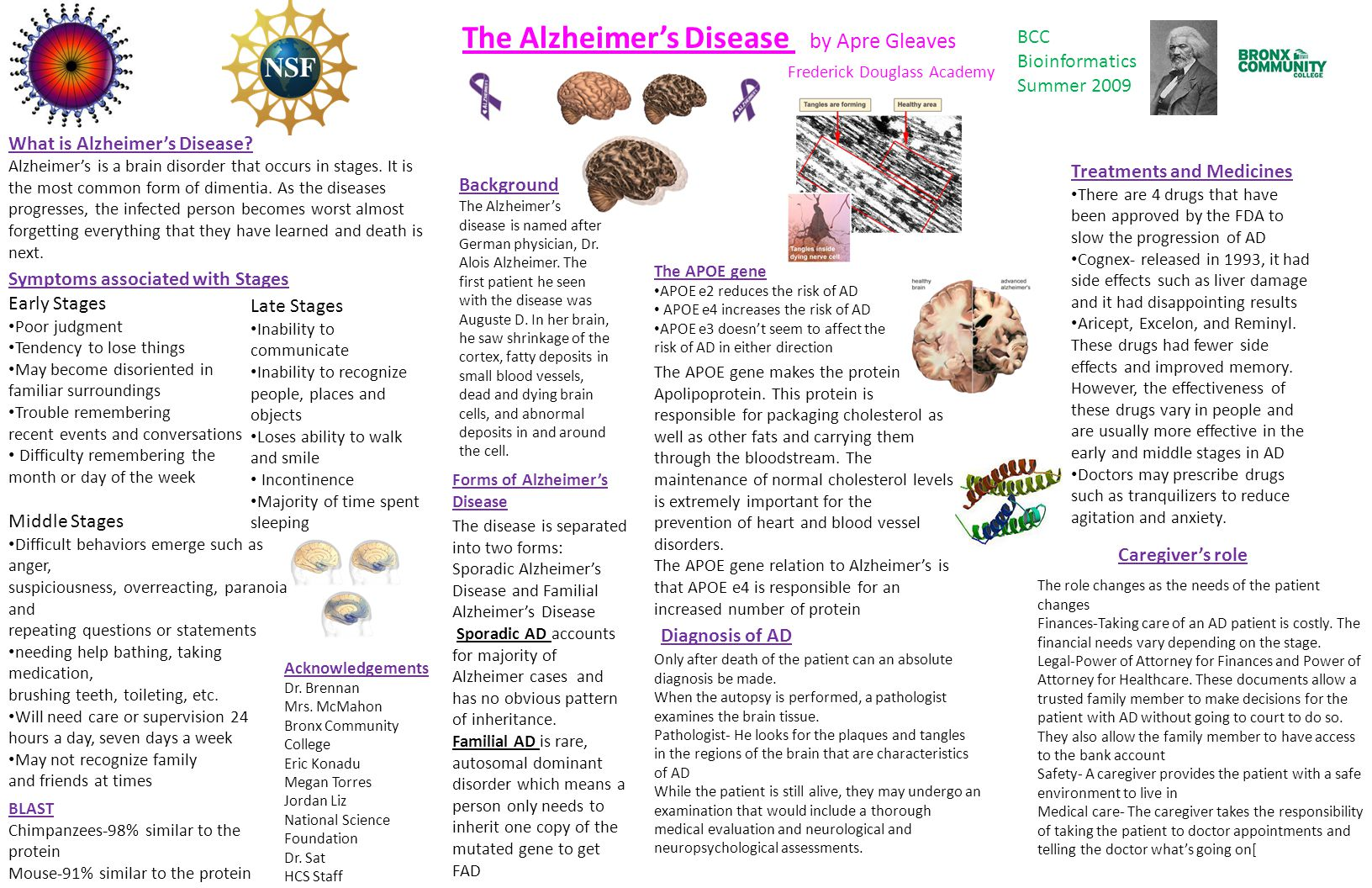 The Alzheimer's Disease by Apre Gleaves Frederick Douglass Academy What is Alzheimer's Disease.