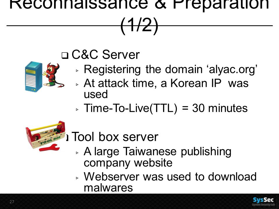 Reconnaissance & Preparation (1/2)  C&C Server ▹ Registering the domain 'alyac.org' ▹ At attack time, a Korean IP was used ▹ Time-To-Live(TTL) = 30 minutes  Tool box server ▹ A large Taiwanese publishing company website ▹ Webserver was used to download malwares 27