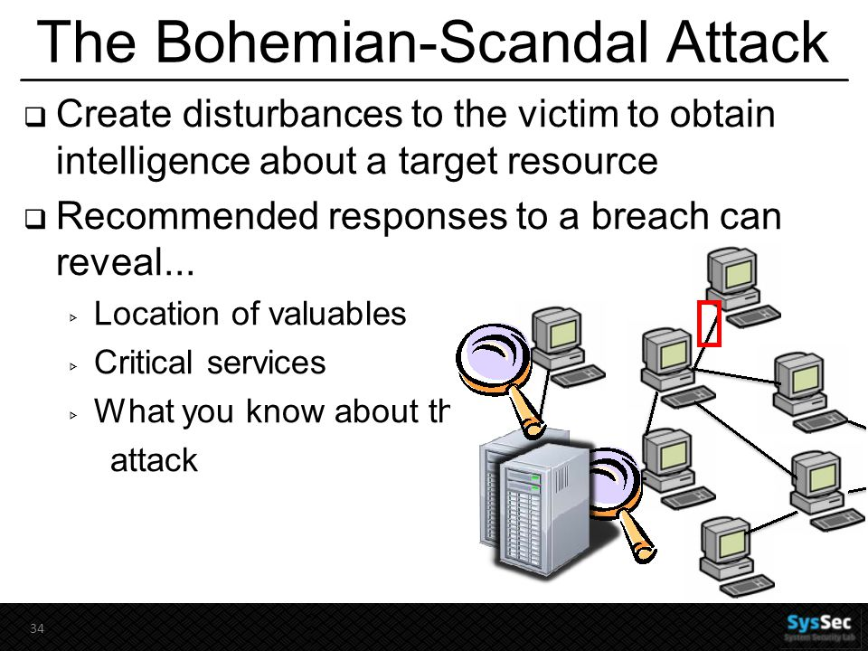 The Bohemian-Scandal Attack  Create disturbances to the victim to obtain intelligence about a target resource  Recommended responses to a breach can reveal...