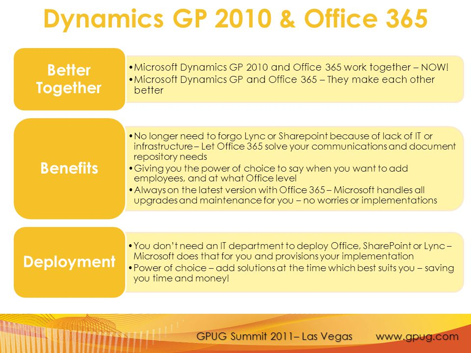 GPUG Summit 2011– Las Vegas www.gpug.com More Information Dynamics GP and Office 365: Better Together – PartnerSource site: https://mbs.microsoft.com/partnersource/marketing/marketingcollateral/dem os/MSDYGP_Office365Integration Blog:http://blogs.msdn.com/b/gp/http://blogs.msdn.com/b/gp/ Contacts: Jay Manleyjay.manley@microsoft.comjay.manley@microsoft.com Brian Meierbmeier@microsoft.combmeier@microsoft.com