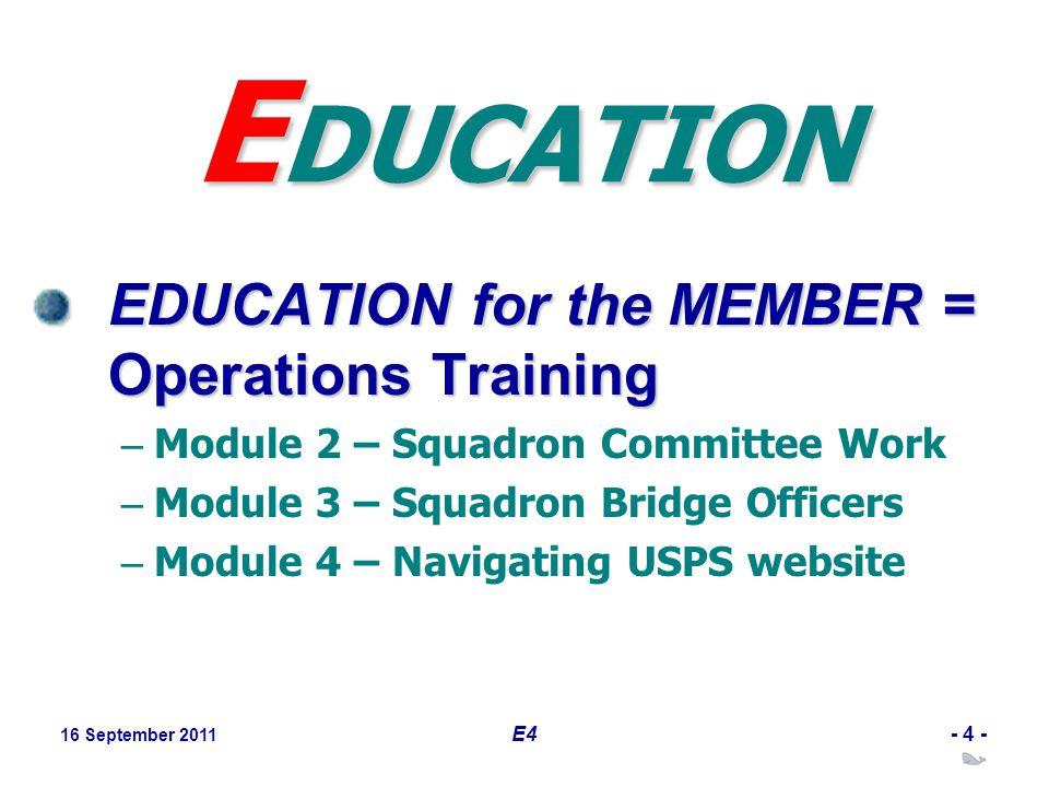 16 September 2011 E4- 4 - E DUCATION EDUCATION for the MEMBER = Operations Training – Module 2 – Squadron Committee Work – Module 3 – Squadron Bridge
