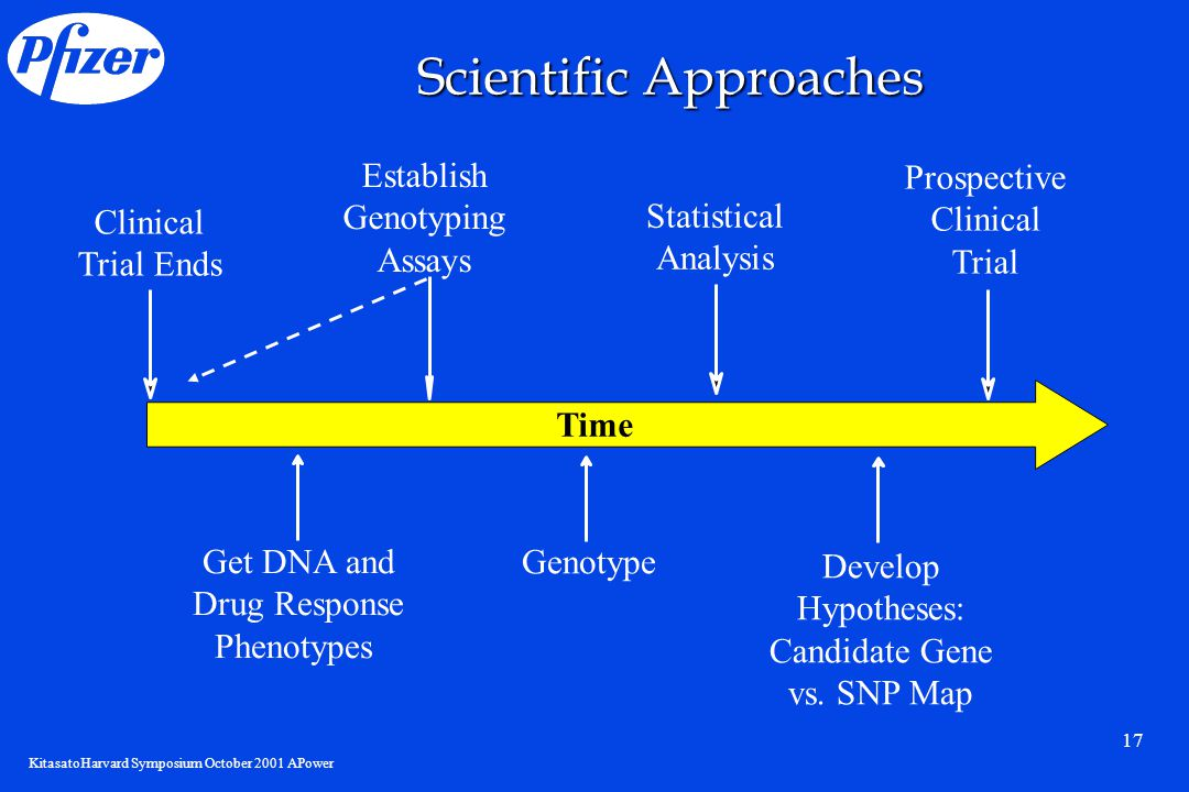 KitasatoHarvard Symposium October 2001 APower 17 Clinical Trial Ends Genotype Get DNA and Drug Response Phenotypes Establish Genotyping Assays Statistical Analysis Scientific Approaches Develop Hypotheses: Candidate Gene vs.