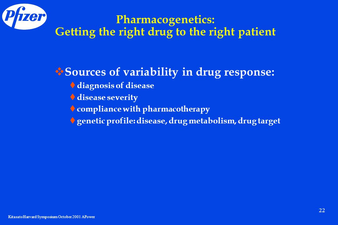 KitasatoHarvard Symposium October 2001 APower 22 Pharmacogenetics: Getting the right drug to the right patient  Sources of variability in drug respon