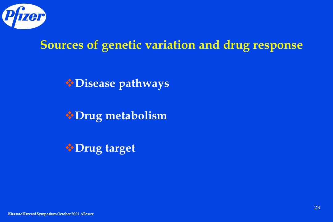 KitasatoHarvard Symposium October 2001 APower 23 Sources of genetic variation and drug response  Disease pathways  Drug metabolism  Drug target