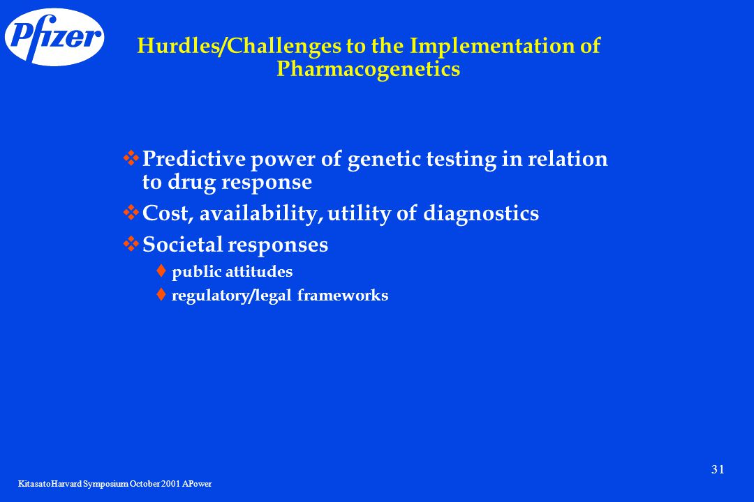 KitasatoHarvard Symposium October 2001 APower 31 Hurdles/Challenges to the Implementation of Pharmacogenetics  Predictive power of genetic testing in relation to drug response  Cost, availability, utility of diagnostics  Societal responses  public attitudes  regulatory/legal frameworks