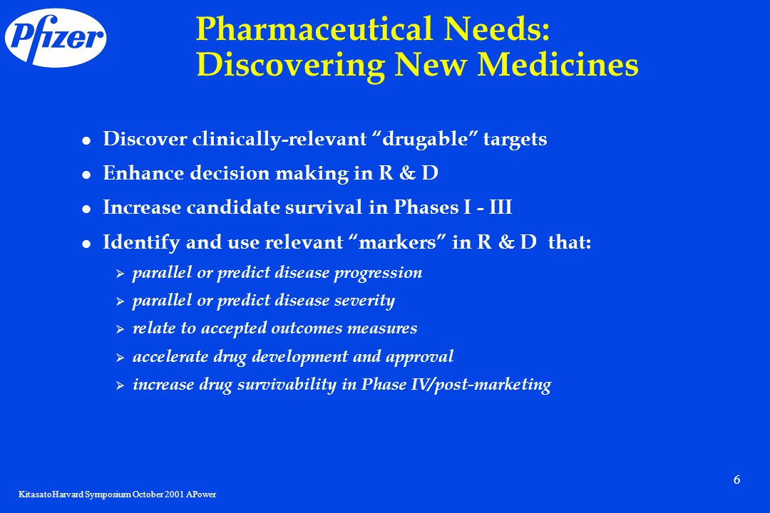 KitasatoHarvard Symposium October 2001 APower 6 Pharmaceutical Needs: Discovering New Medicines Discover clinically-relevant drugable targets Enhance decision making in R & D Increase candidate survival in Phases I - III Identify and use relevant markers in R & D that:  parallel or predict disease progression  parallel or predict disease severity  relate to accepted outcomes measures  accelerate drug development and approval  increase drug survivability in Phase IV/post-marketing