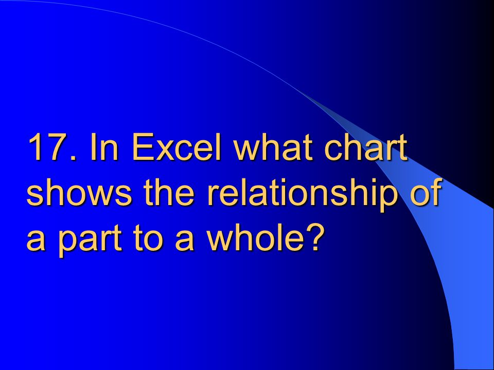 17. In Excel what chart shows the relationship of a part to a whole?