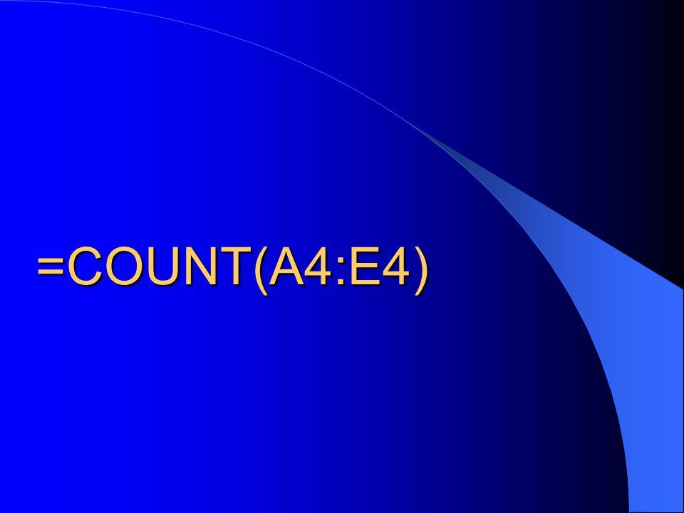 =COUNT(A4:E4)