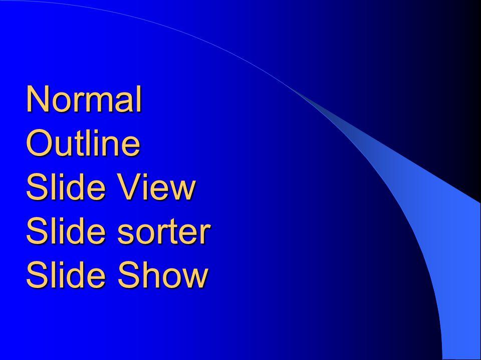 Normal Outline Slide View Slide sorter Slide Show