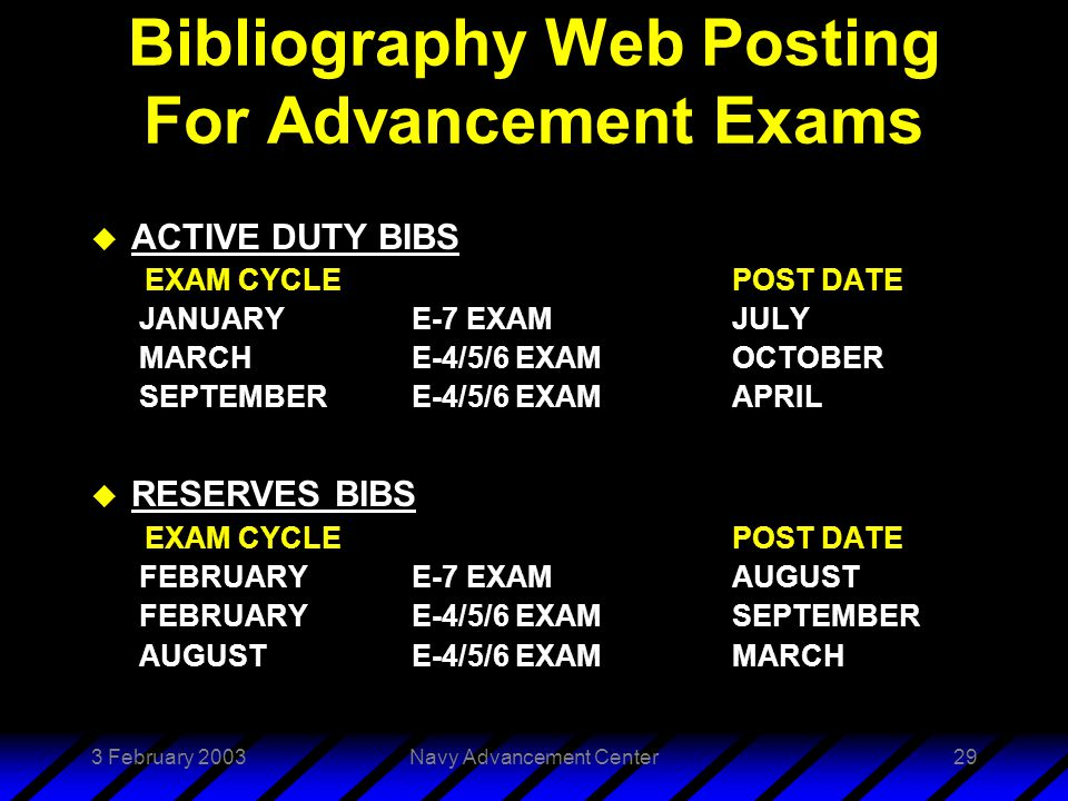 3 February 2003Navy Advancement Center29 Bibliography Web Posting For Advancement Exams u ACTIVE DUTY BIBS EXAM CYCLEPOST DATE JANUARYE-7 EXAMJULY MARCHE-4/5/6 EXAM OCTOBER SEPTEMBERE-4/5/6 EXAMAPRIL u RESERVES BIBS EXAM CYCLEPOST DATE FEBRUARYE-7 EXAMAUGUST FEBRUARYE-4/5/6 EXAMSEPTEMBER AUGUSTE-4/5/6 EXAMMARCH