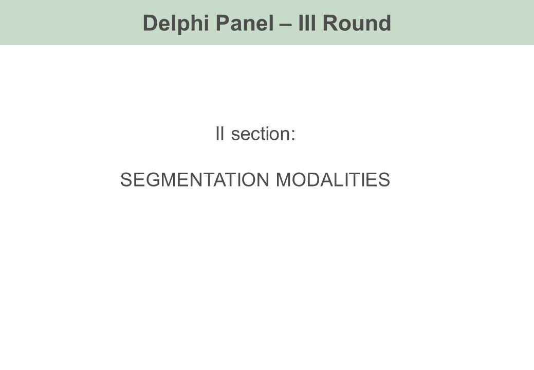 Delphi Panel – III Round II section: SEGMENTATION MODALITIES