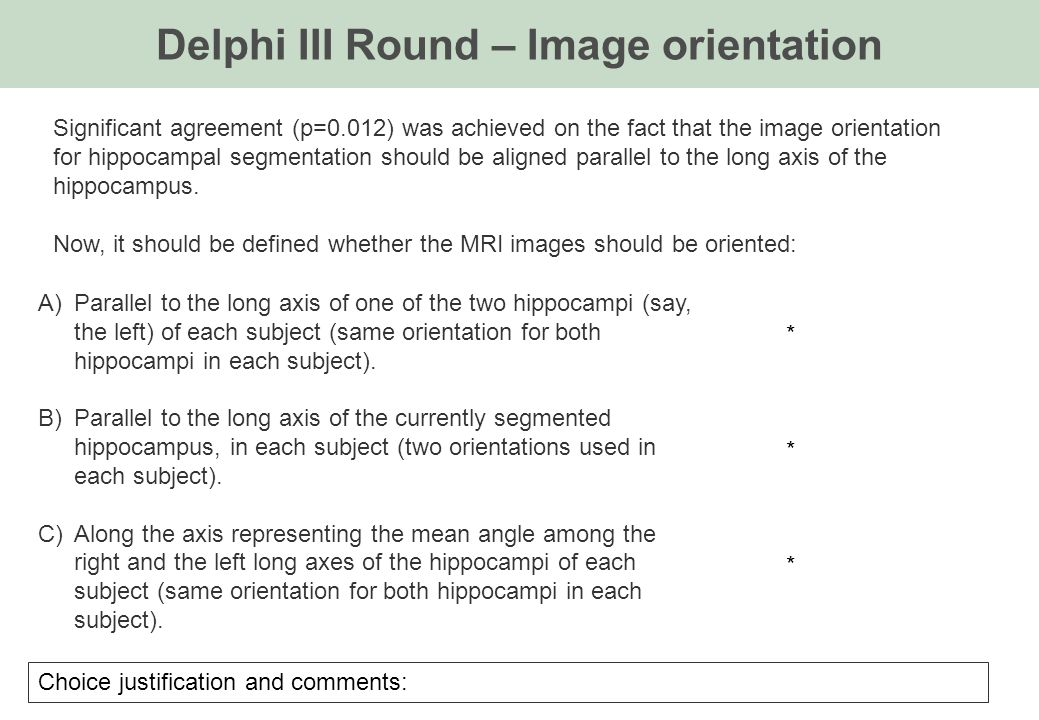 Delphi III Round – Image orientation A)Parallel to the long axis of one of the two hippocampi (say, the left) of each subject (same orientation for both hippocampi in each subject).