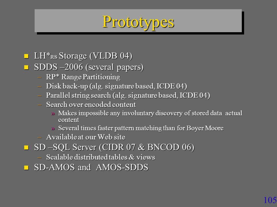 105 PrototypesPrototypes n LH* RS Storage (VLDB 04) n SDDS –2006 (several papers) –RP* Range Partitioning –Disk back-up (alg.
