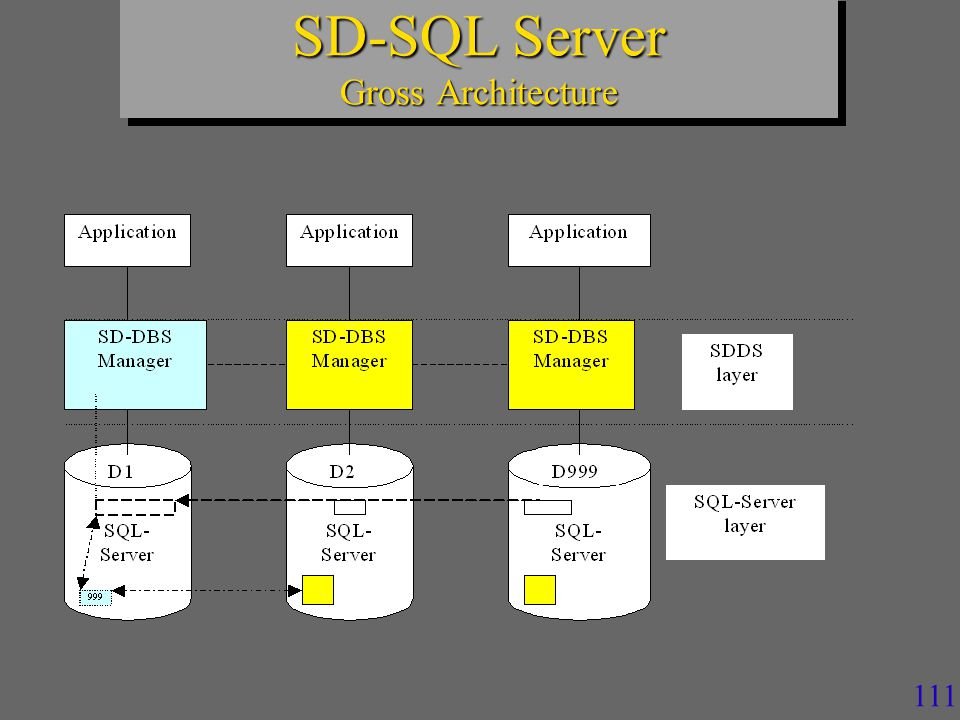 110 n Manages a client view of a scalable table –Scalable distributed partitioned view »Distributed partitioned updatable iew of SQL Server n Triggers specific image adjustment SQL queries – checking image correctness »Against the actual number of segments »Using SD SQL Server meta-tables (SQL Server tables) –Incorrect view definition is adjusted – Application query is executed.