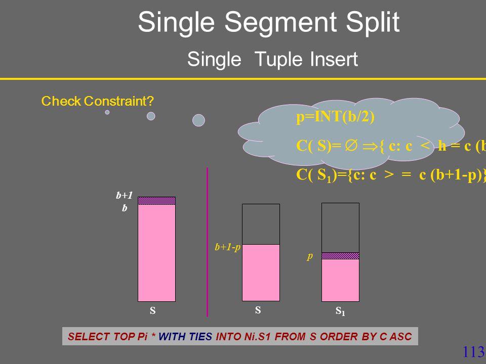 113 S b+1 S S1S1 p b+1-p p=INT(b/2) C( S)=   { c: c < h = c (b+1-p)} C( S 1 )={c: c > = c (b+1-p)} Check Constraint.