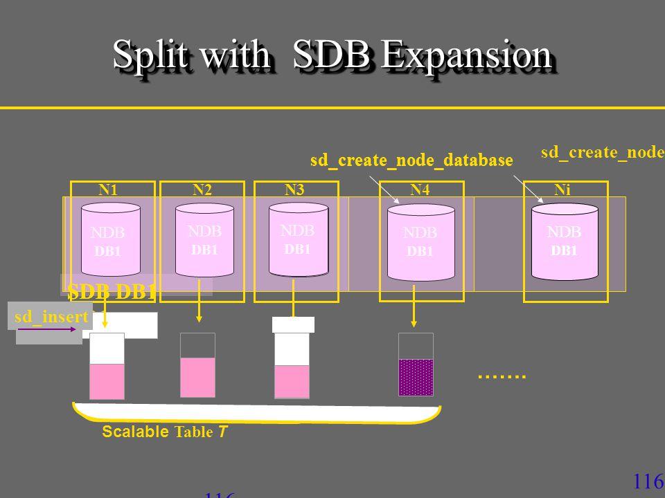116 SDB DB1 Scalable Table T sd_insert N1N2N4N3 NDB DB1 sd_insert NDB DB1 Ni sd_create_node sd_insert N3 NDB DB1 sd_create_node_database NDB DB1 …….
