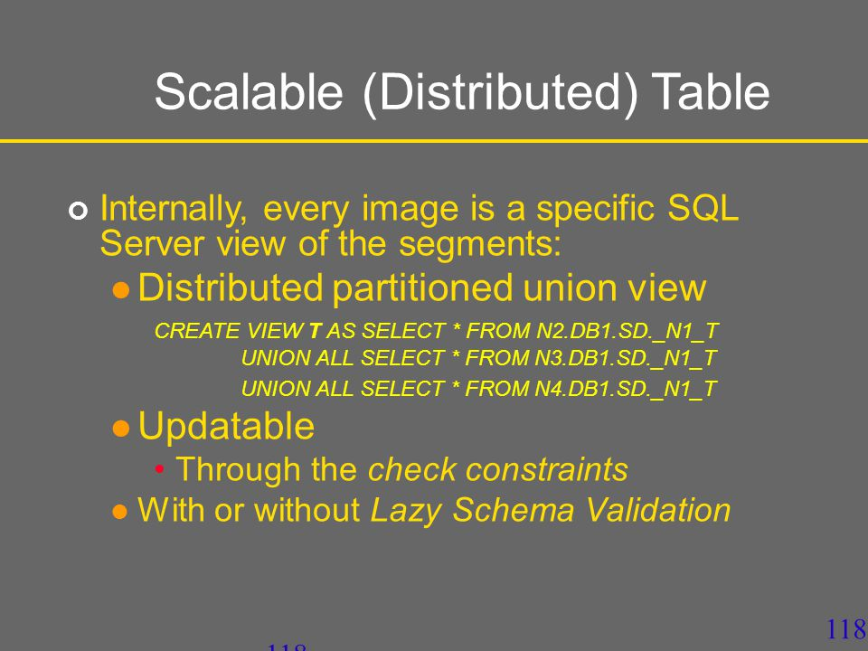 117 SD-DBS Architecture Client View Distributed Partitioned Union All View Db_1.Segment1Db_2.