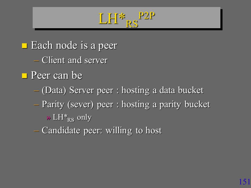 151 LH* RS P2P n Each node is a peer –Client and server n Peer can be –(Data) Server peer : hosting a data bucket –Parity (sever) peer : hosting a parity bucket »LH* RS only –Candidate peer: willing to host