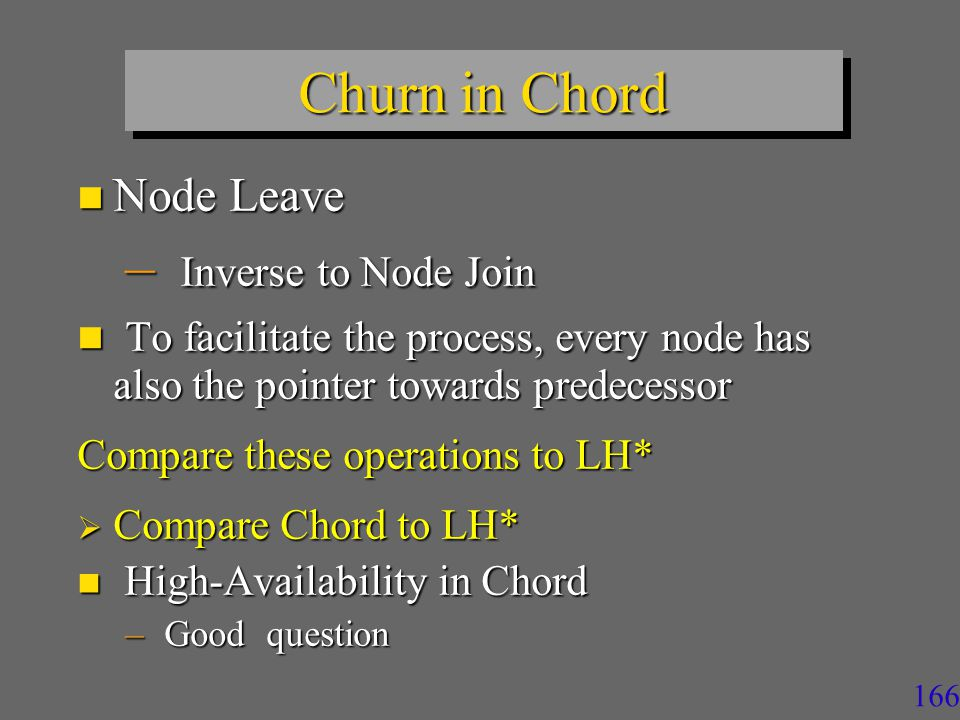 166 Churn in Chord n Node Leave – Inverse to Node Join n To facilitate the process, every node has also the pointer towards predecessor Compare these operations to LH*  Compare Chord to LH* n High-Availability in Chord – Good question