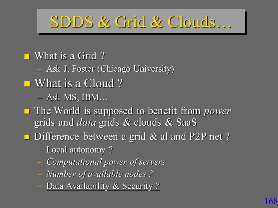 168 SDDS & Grid & Clouds… n What is a Grid .–Ask J.