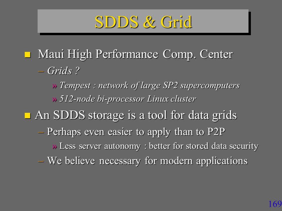 169 SDDS & Grid n Maui High Performance Comp.Center –Grids .