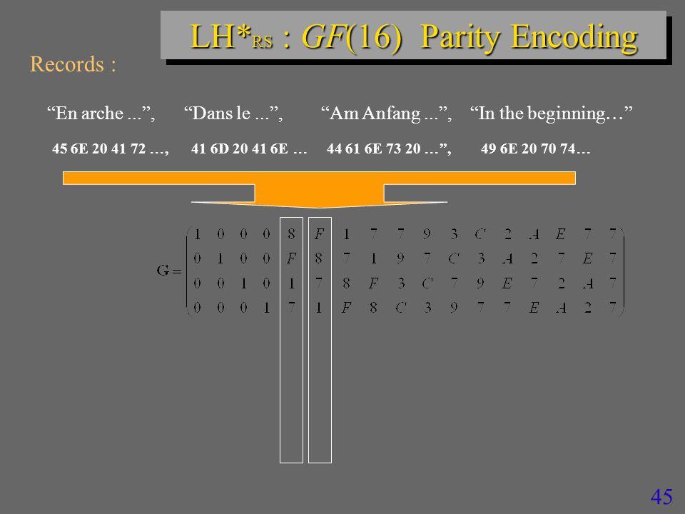 45 LH* RS : GF(16) Parity Encoding Records : En arche... , Dans le... , Am Anfang... , In the beginning  45 6E 20 41 72 , 41 6D 20 41 6E  44 61 6E 73 20  , 49 6E 20 70 74 