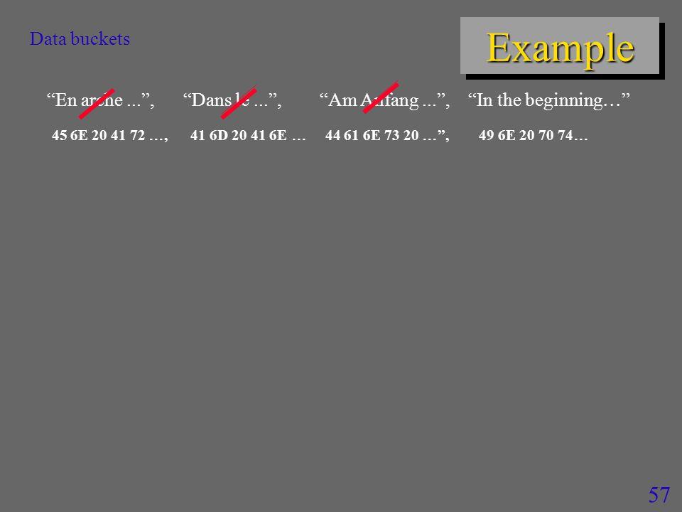 57 ExampleExample Data buckets En arche... , Dans le... , Am Anfang... , In the beginning  45 6E 20 41 72 , 41 6D 20 41 6E  44 61 6E 73 20  , 49 6E 20 70 74 