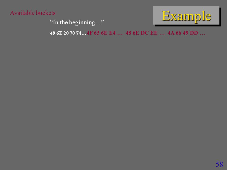 58 ExampleExample Available buckets In the beginning  49 6E 20 70 74  4F 63 6E E4  48 6E DC EE  4A 66 49 DD 