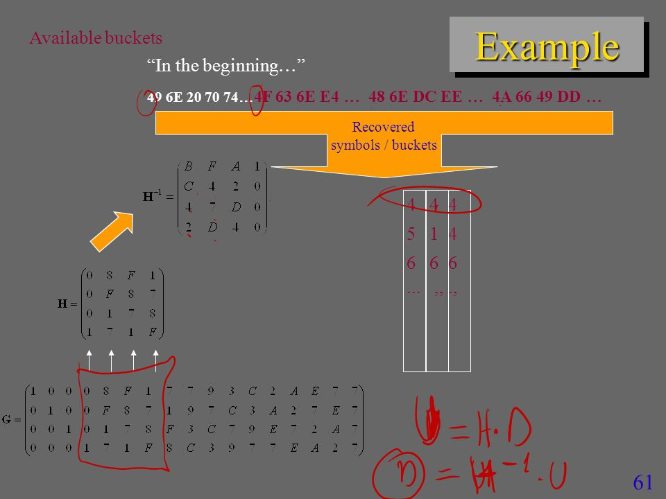 61 ExampleExample In the beginning  49 6E 20 70 74  4F 63 6E E4  48 6E DC EE  4A 66 49 DD  4 4 4 5 1 4 6 6 6...,,., Recovered symbols / buckets Available buckets