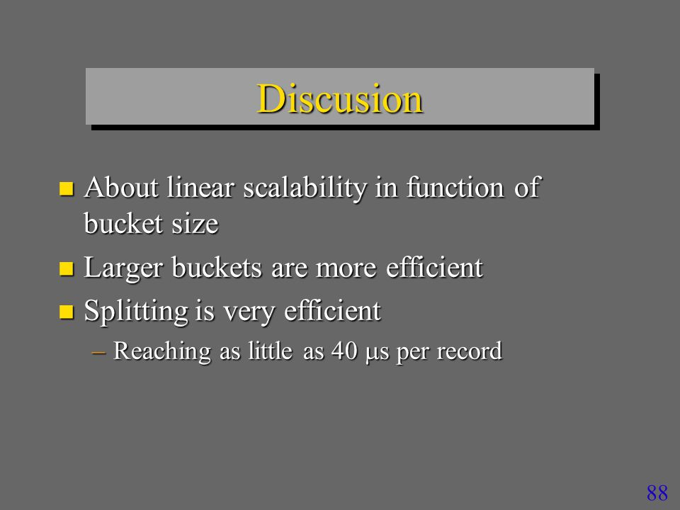 87 Performance Analysis Split Time Split times for different bucket capacity