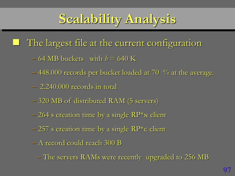 96 DiscussionDiscussion n Range search appears also very efficient –Reaching 100  s per record delivered n More servers should further improve the efficiency –Curves do not become flat yet