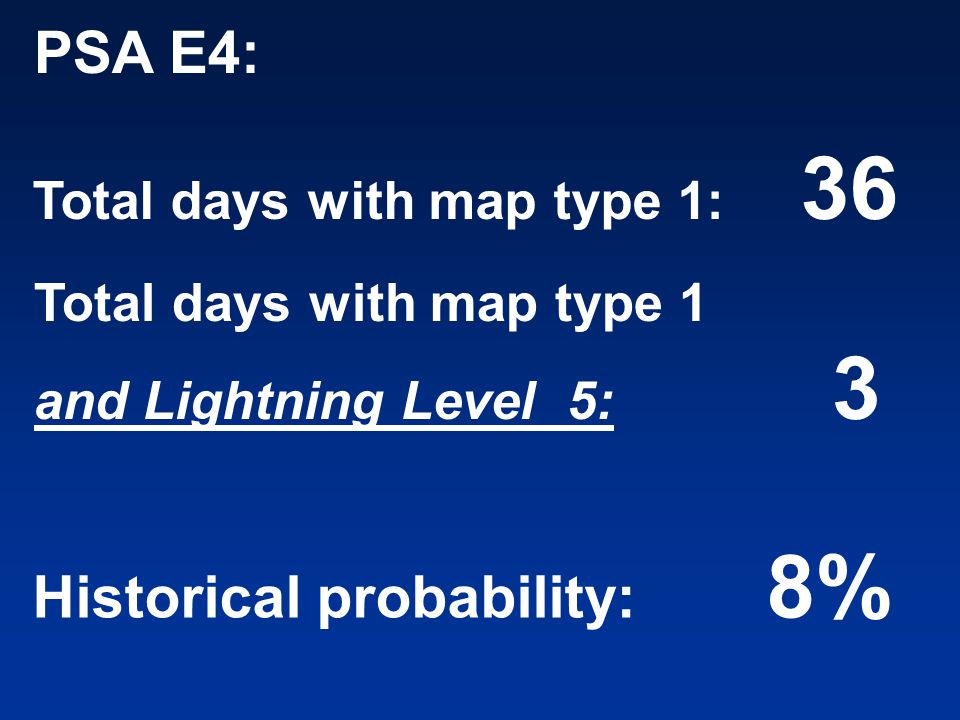 PSA E4: Total days with map type 1: 36 Total days with map type 1 and Lightning Level 5: 3 Historical probability: 8%