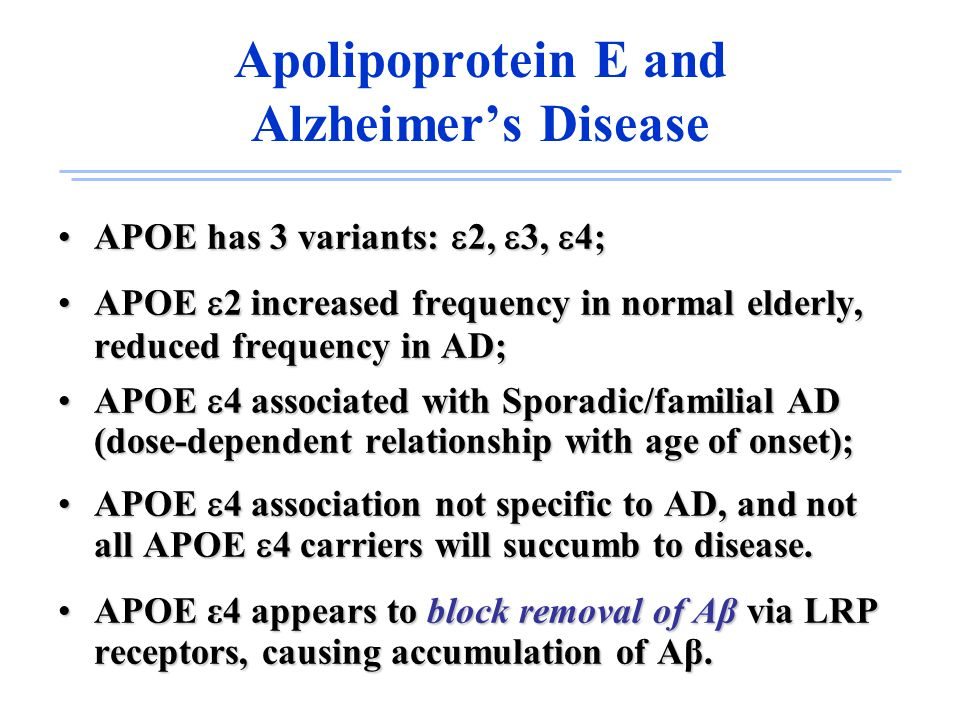 Apolipoprotein E and Alzheimer's Disease APOE has 3 variants:  2,  3,  4;APOE has 3 variants:  2,  3,  4; APOE  2 increased frequency in normal elderly, reduced frequency in AD;APOE  2 increased frequency in normal elderly, reduced frequency in AD; APOE  4 associated with Sporadic/familial AD (dose-dependent relationship with age of onset);APOE  4 associated with Sporadic/familial AD (dose-dependent relationship with age of onset); APOE  4 association not specific to AD, and not all APOE  4 carriers will succumb to disease.APOE  4 association not specific to AD, and not all APOE  4 carriers will succumb to disease.