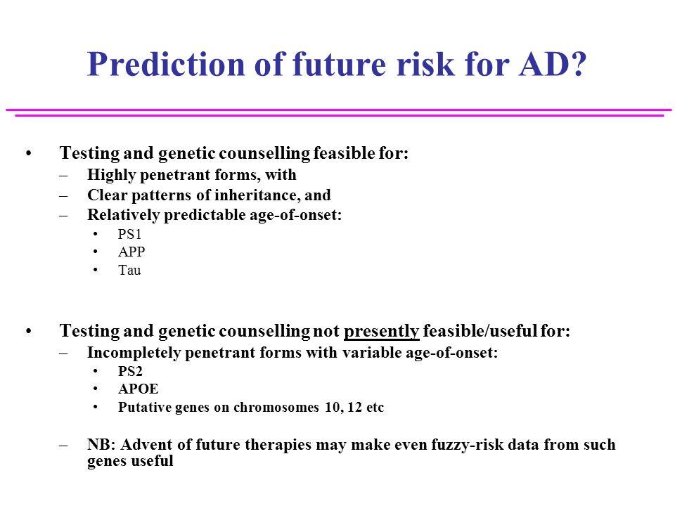Prediction of future risk for AD.