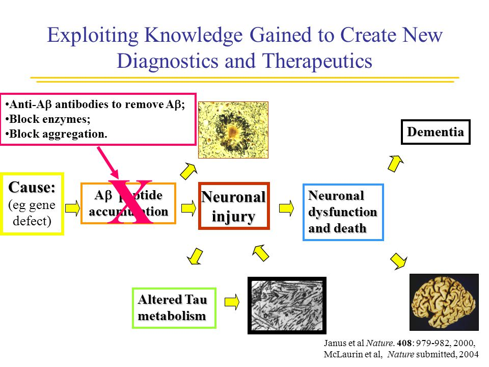 Exploiting Knowledge Gained to Create New Diagnostics and Therapeutics Cause: (eg gene defect) Neuronalinjury Altered Tau metabolism Neuronaldysfuncti