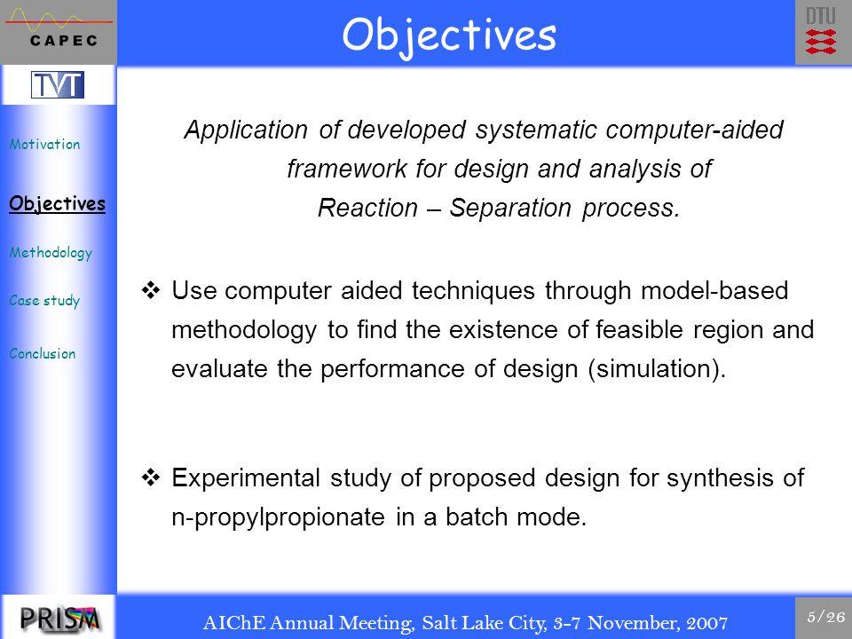 AIChE Annual Meeting, Salt Lake City, 3-7 November, 2007 6/26 Methodology: Process design Motivation Objectives Methodology Case study Conclusion