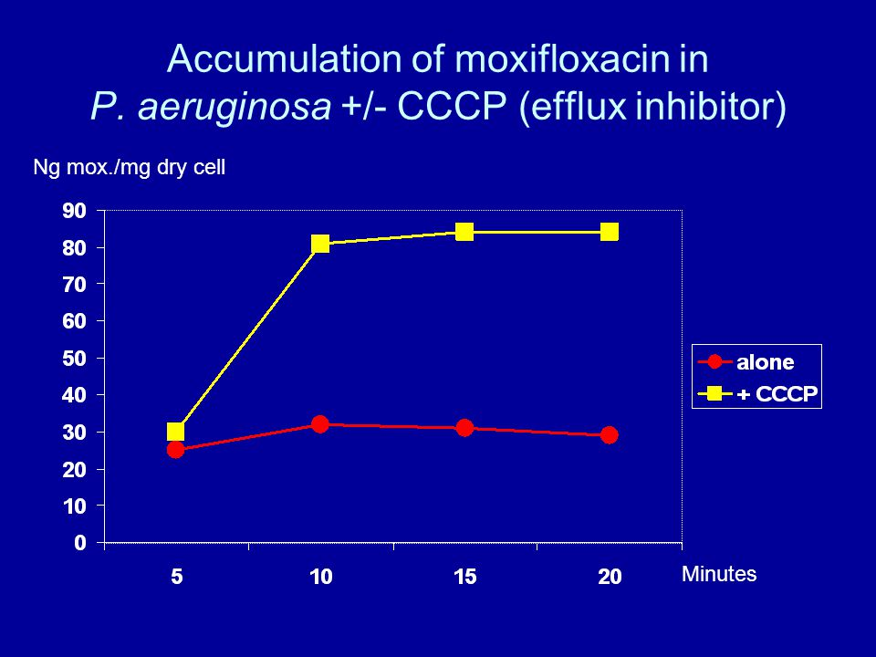 Accumulation of moxifloxacin in P. aeruginosa +/- CCCP (efflux inhibitor) Minutes Ng mox./mg dry cell