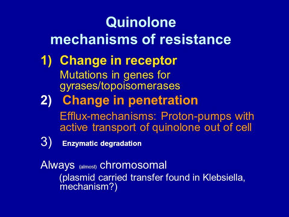 Gram negativ bakterie kinolonresistensmekanismer. Porer Effluxpumper DNA + gyrasekomplex