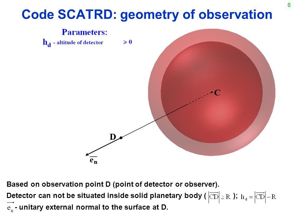 6 Code SCATRD: geometry of observation Based on observation point D (point of detector or observer).