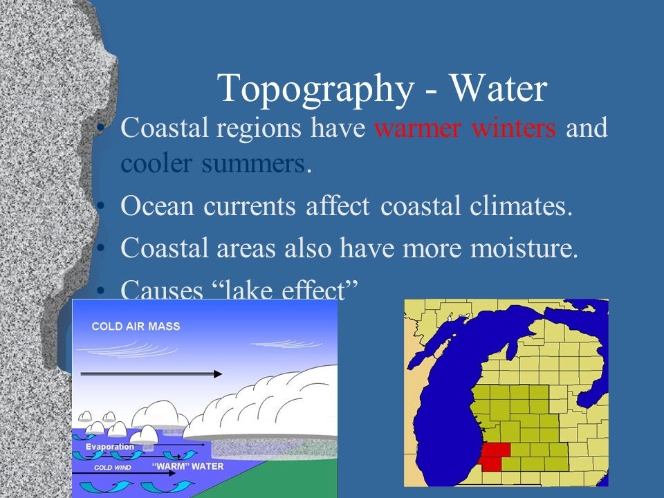 Topography - Water Coastal regions have warmer winters and cooler summers.