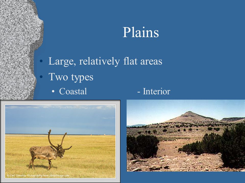 Plains Large, relatively flat areas Two types Coastal- Interior (lowlands) (Great Plains)