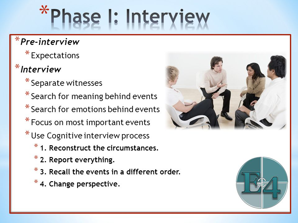 * Pre-interview * Expectations * Interview * Separate witnesses * Search for meaning behind events * Search for emotions behind events * Focus on most
