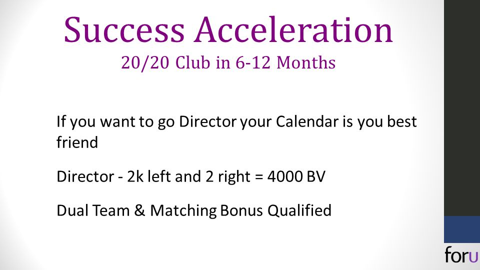 If you want to go Director your Calendar is you best friend Director - 2k left and 2 right = 4000 BV Dual Team & Matching Bonus Qualified Success Acceleration 20/20 Club in 6-12 Months