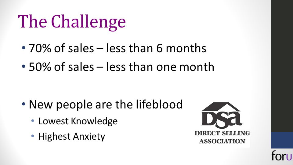 The Challenge 70% of sales – less than 6 months 50% of sales – less than one month New people are the lifeblood Lowest Knowledge Highest Anxiety