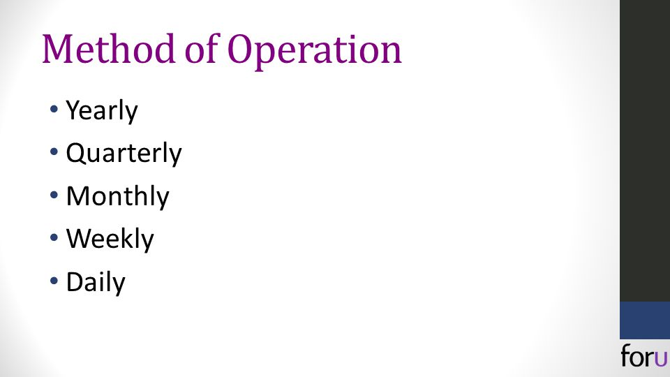 Method of Operation Yearly Quarterly Monthly Weekly Daily