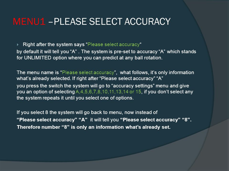 SYSTEM MENU After powering the system the system responds with menu and asks us to select.